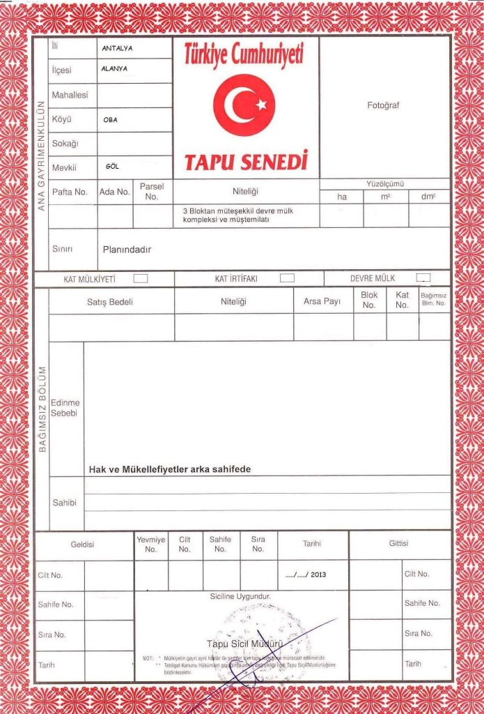 تاپو سند رسمی ترکیه