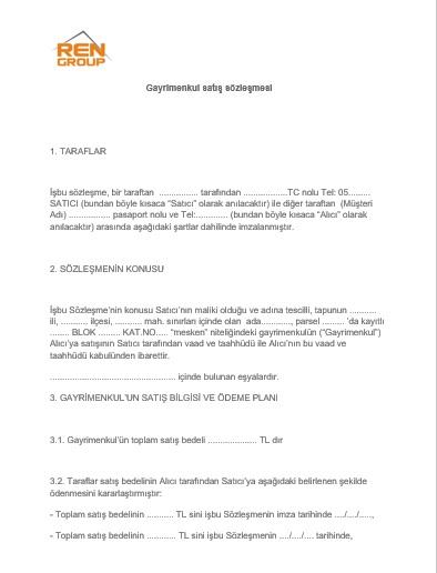 تنظیم قرارداد خرید ملک در ترکیه (Sözleşme)