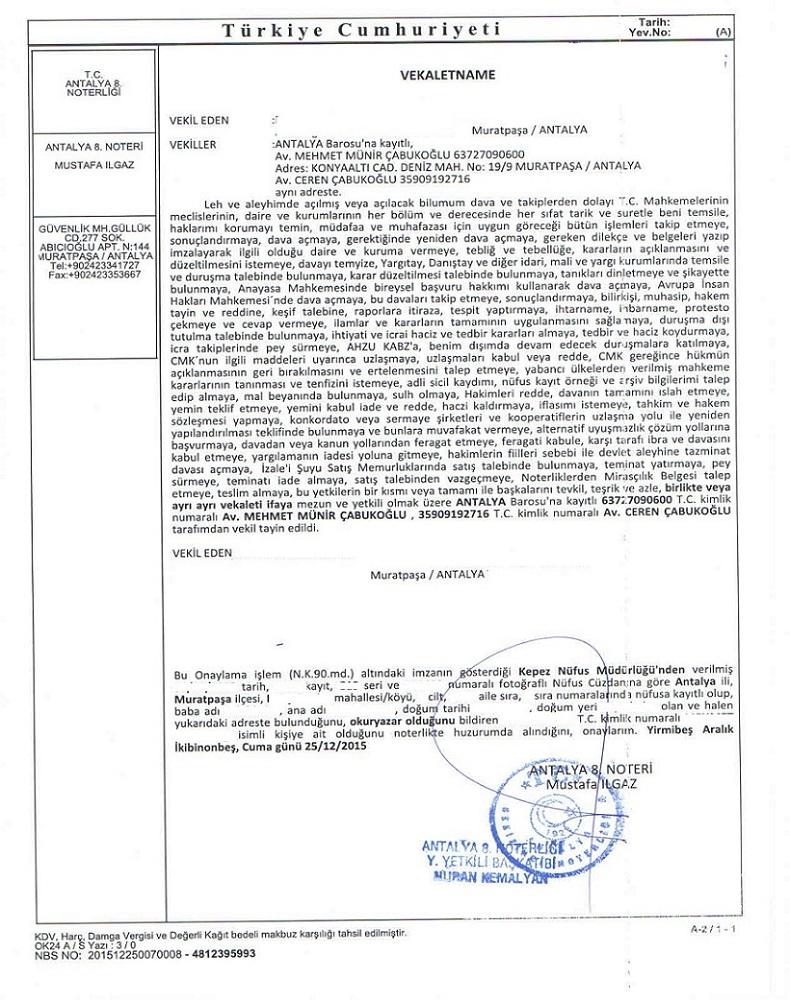 وکالتنامه در ترکیه